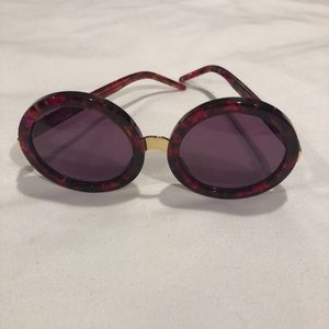Round red tortoise sunglasses by Firefox